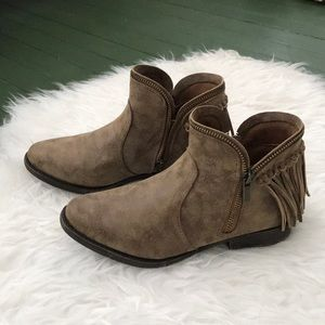 Distressed Fringed Bootie